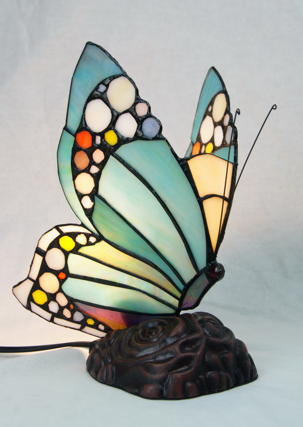 Vivid Butterfly Tiffany Leadlight Stained Glass Art Deco Table Lamp